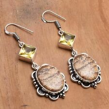 "Earrings Jewelry 2.28"" Ae 82372 Picture Jasper Citrine Handmade Drop Dangle"