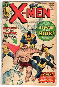 X-MEN #3 (1964) - GRADE 4.0 - 1ST APPEARANCE OF THE BLOB - SILVER AGE COMIC!