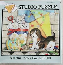 Bits and Pieces 500 piece jigsaw puzzle, featuring beagle puppies-Shell Hunting