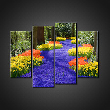 RIVER OF SPRING FLOWERS LANDSCAPE CANVAS PRINT PICTURE WALL ART HOME DECOR