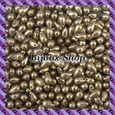 75 Perles de bohème goutte 9 x 6mm coloris Bronze or