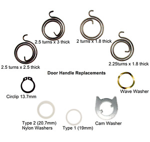 Door handle Springs, Circlips, Nylon Type 1 / 2, Cam or Wave Washers Spares