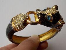 Ciner style vintage unsigned black Panther / Foo dog runway clamper bracelet