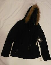 WOMENS JUNIOR YMI SMALL FAUX FUR LINED BLACK COAT DETACHABLE HOOD NWT $84