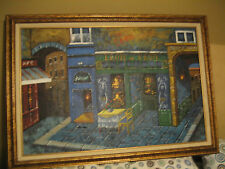 "Starving Artist Exhibit Unknown Artist 41""x29"" Oil Painting French Italian Cafe"