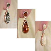 BALTIC GREEN WHITE or HONEY AMBER & STERLING SILVER HANDMADE TEARDROP EARRINGS