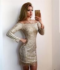 Gold Sequin Glitter Stripe Scalloped Dress Bardot Boutique Size S-XL Celeb Style