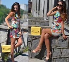 Fashion Sexy Women Mini Vest Dress Round Neck Sleeveless Flower Printing Retro