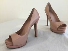 JS by Jessica Simpson Edith Open Toe Platform Pumps Nude Pink Patent Size 6B/36