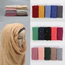 Women Cotton Blend Hijab Scarf with Pearl Muslim Crinkle Shawls Knitting Scarves