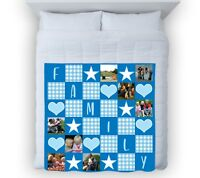 Large Warm Sofa Fleece Personalised Family Blue Photo Fleece Blanket 8 Images