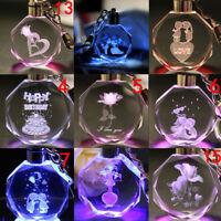 New Fairy Heart Rose Crystal LED Light Charm Pendant Key Chain Key Ring Keyring
