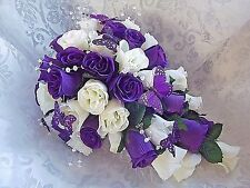 Purple and ivory teardrop Wedding bouqet butterflies  crystal sprays. Any colour