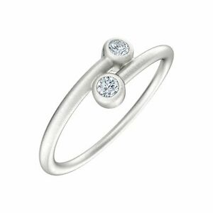 Bypass Bezel Ring with Charles & Colvard Created Moissanites in Sterling Silver