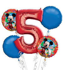 Mickey Mouse 5th Birthday  Balloon Bouquet - 5 Foil Helium Balloons Party