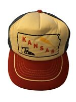Kansas Jayhawk Wheat State Vintage Trucker SnapBack Hat Cap USA Made Red Blue