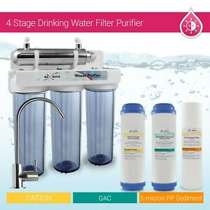4 Stage Drinking Water Filter Purifier With Ultra Violet Light UV Ray Sterilizer