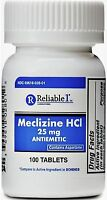 Reliable 1 Meclizine HCL 25mg Tablets 100 ea
