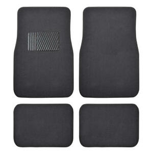 4 Pcs Front & Rear Charcoal Auto Floor Mats for Car - Classic Carpet w/ Heelpad