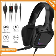 Gaming Headset RGB Surround Sound Mic USB Headphones 3.5mm For Xbox PS4 Laptop