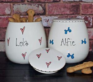 Large Personalised ceramic dog treat jar hand painted dog canister treat holder