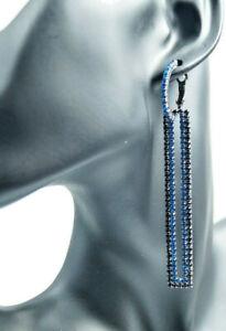 Lange Ohrringe 2 in1 Rechteckig Kristallblau Kreolen