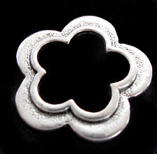 SCRAPBOOK Silver flower Pendant Antique Style Charm Bronze Brass Vintage BEAD