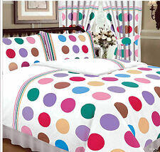 BE BOP WHITE VIBRANT MULTI-COLOURED POLKA DOT SPOTS SINGLE BED DUVET COVER SET