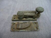 Antique Late Victorian Large Brass Sash Window Catch Fastener+Keep Old Hospital