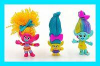 """Dreamworks 3"""" Trolls Girl Power Hair Styled Lot of 3"""