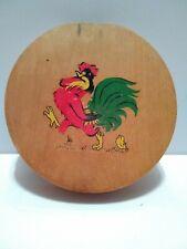 Vintage Hamburger Patty Press Kitchen Folk Art Rooster Wood