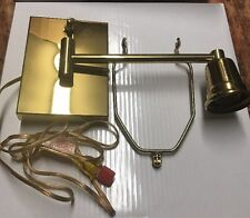 "Vintage Brass Swing Arm Wall Mount Light Adjustable Swivel Lamp Plug In 8"" Leigh"