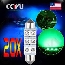 20x Xenon Green 42mm 6SMD 5050 Car LED Bulbs Festoon Dome Map Cargo Lights 12V