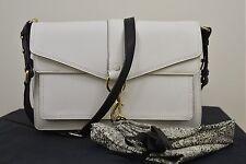 NWT Rebecca Minkof  Hudson Moto Saffiano Leather Handbag White/Black