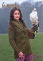 "Wendy Knitting Pattern 5671 Ribbed Collar Jacket Cardigan 32-40"" Chunky Ladies"