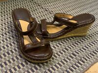 BORN DRILLERS BROWN LEATHER JUTE WEDGE HEELS 7 38 M SLIDES T-STRAP W8494 EUC