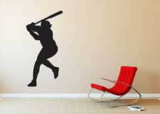 "Baseball Player Batter Silhouette Wall Vinyl Graphic Decal Bedroom 22"" Tall"