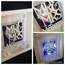 **LIGHT UP BOX FRAME PERSONALISED MR & MRS QUIRKY WEDDING GIFT **
