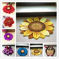 Door Mat 3D Handmade Round Area Rug Flower Floor Carpet Bedroom Living Room Home