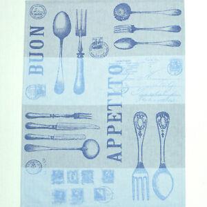 Leinen Geschirrtuch Küchentuch G - Apetito 50 cm x 70 cm blau DRIESSEN LEINEN