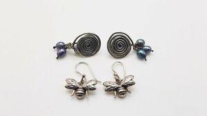 925 Silver 2 Pair Earring Lot w/Pearls 7.48g MRJ874