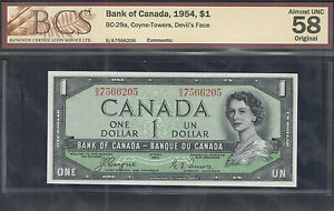 1954 DEVIL'S FACE $1.00 BC-29a BCS AU-58 Beautiful QEII Canada 1st DF One Dollar