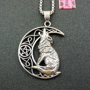 New Betsey Johnson Fashion Silver Alloy Wolf Moon Pendant Necklace Chain