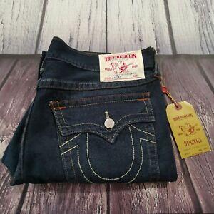Men's True Religion Jeans 40 Waist 31 Leg Ricky Relaxed Straight Fit Blue $188