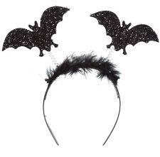 HALLOWEEN BAT HEADBAND BLACK FANCY DRESS LADIES FLUFFY GLITTER HEADBOPPER GIRLS