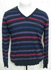 Paul & Shark Yachting Wool Cashmere Sweater Italy L Striped Crest Blue Purple