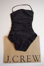 NEW J Crew Long Torso Ruched Bandeau Swimsuit Dark Charcoal 6 Small B6841