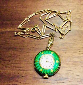 Vintage Bucherer Stem Wind, Enameled Pendant Watch With Necklace.