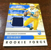 """2020 Absolute Justin Herbert Rookie Relic Jersey RC LA CHARGERS ROY  """"MINT"""""""