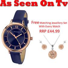 Relojes de pulsera de oro rosa de cuero para mujer